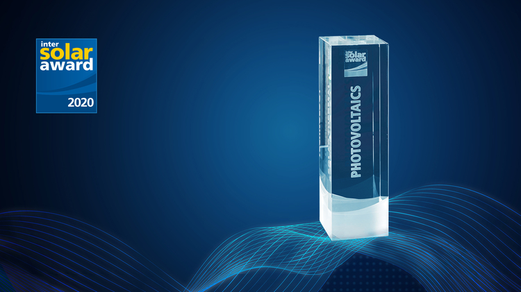 Trophy of the Intersolar AWARD category Photovoltaics