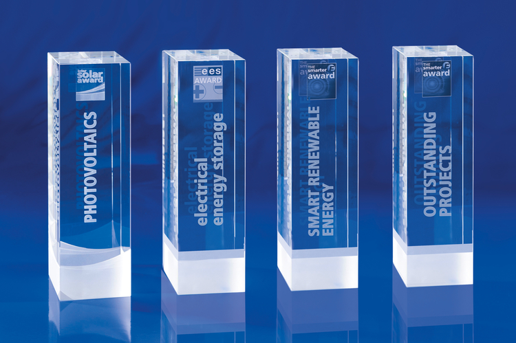 Trophies of The smarter E AWARD, Intersolar AWARD and ees AWARD